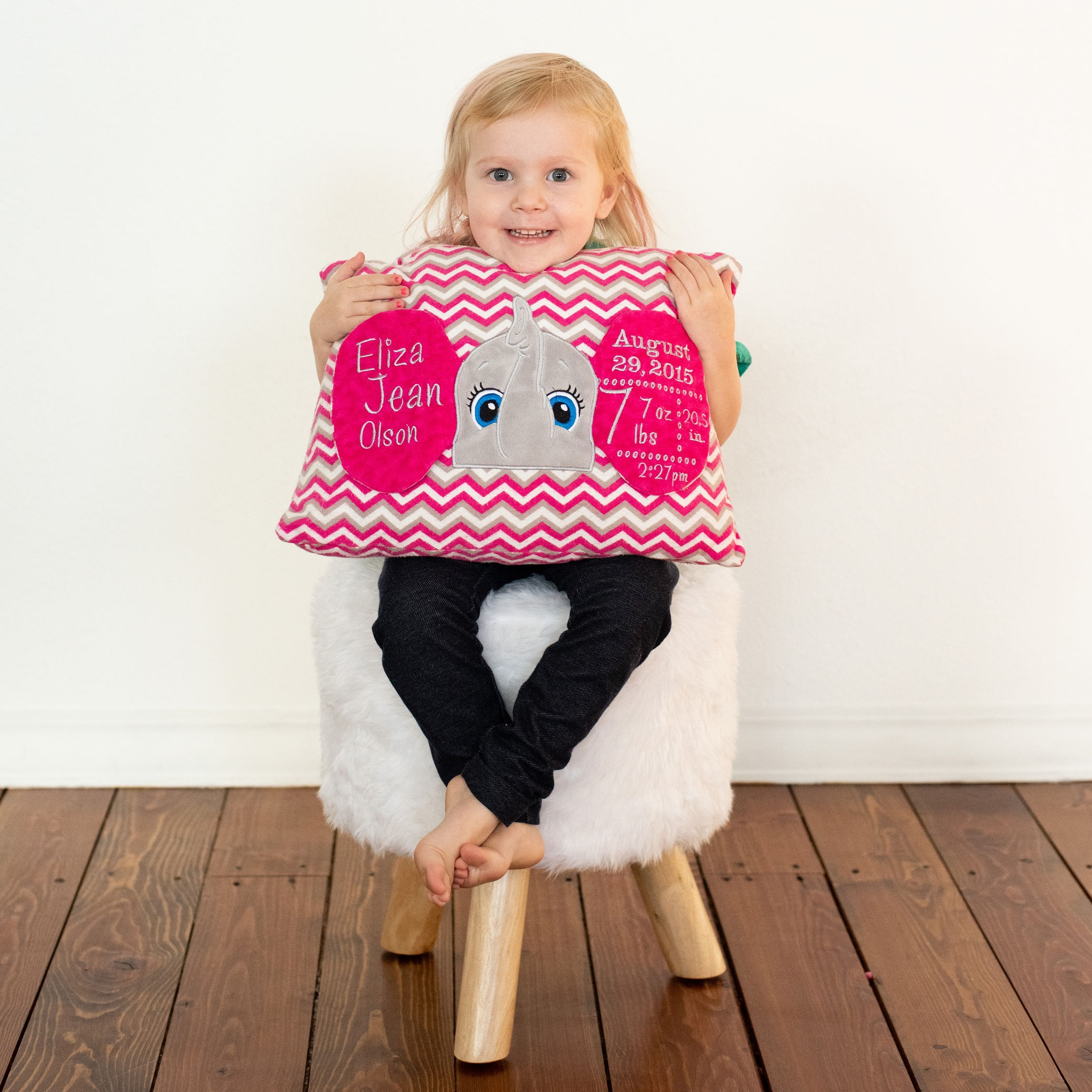 elephant+birth+announcement+pillow