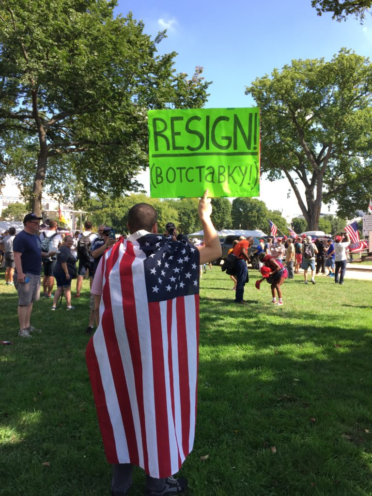 Sante Mastriana protests President Donald Trump at the Mother of All Rallies on the National Mall in Washington, Saturday, Sept. 16, 2017. (Lindsey Leake)