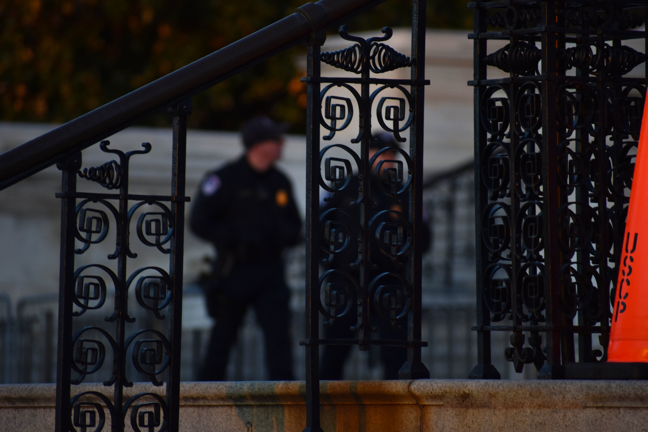 U.S. Capitol Police officers patrol the West Front of the U.S. Capitol in Washington, Jan. 25, 2018. (Lindsey Leake/American University)