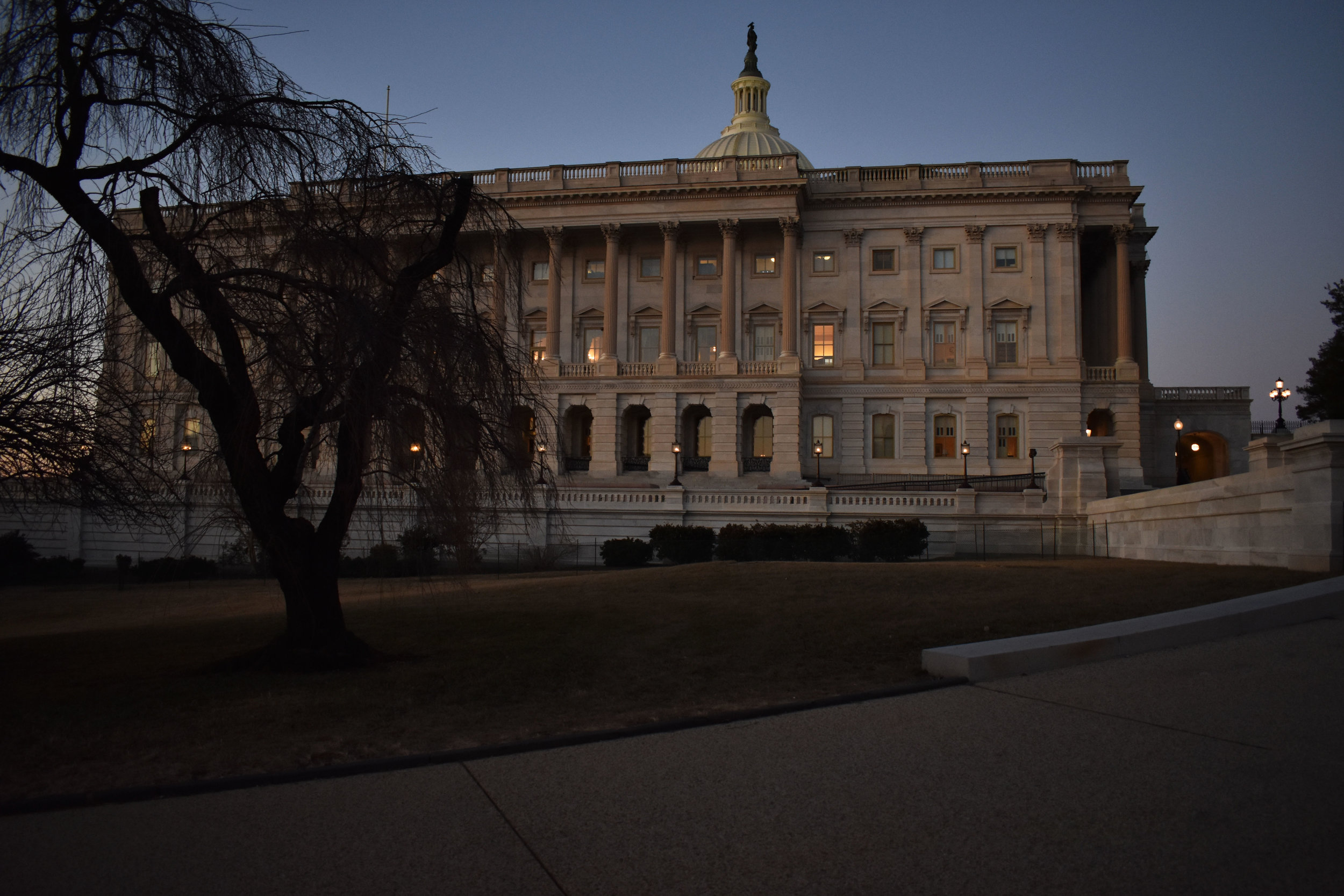The South Side of the U.S. Capitol in Washington is pictured at dusk, Thursday, Jan. 25, 2018. (Lindsey Leake/American University)