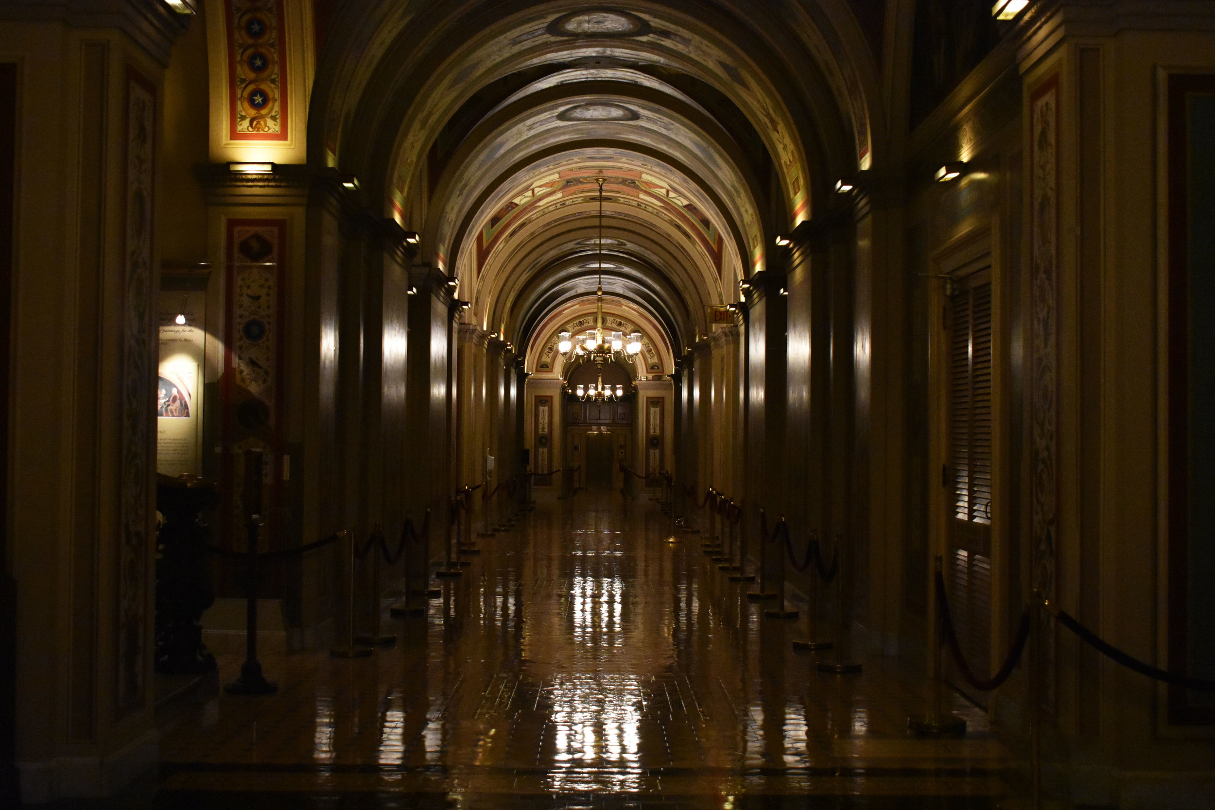 A hall is pictured at dusk on the Senate side of the U.S. Capitol in Washington, Thursday, Jan. 25, 2018. (Lindsey Leake/American University)