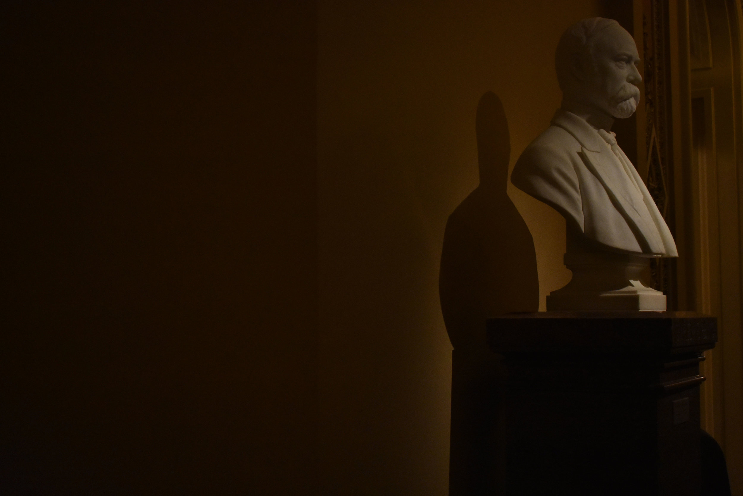The bust of Vice President Charles W. Fairbanks, by Franklin Simmons in 1905, is seen on the second floor of the U.S. Capitol in Washington, Thursday, Jan. 25, 2018. The Republican served in President Theodore Roosevelt's administration from 1905-1909. (Lindsey Leake/American University)
