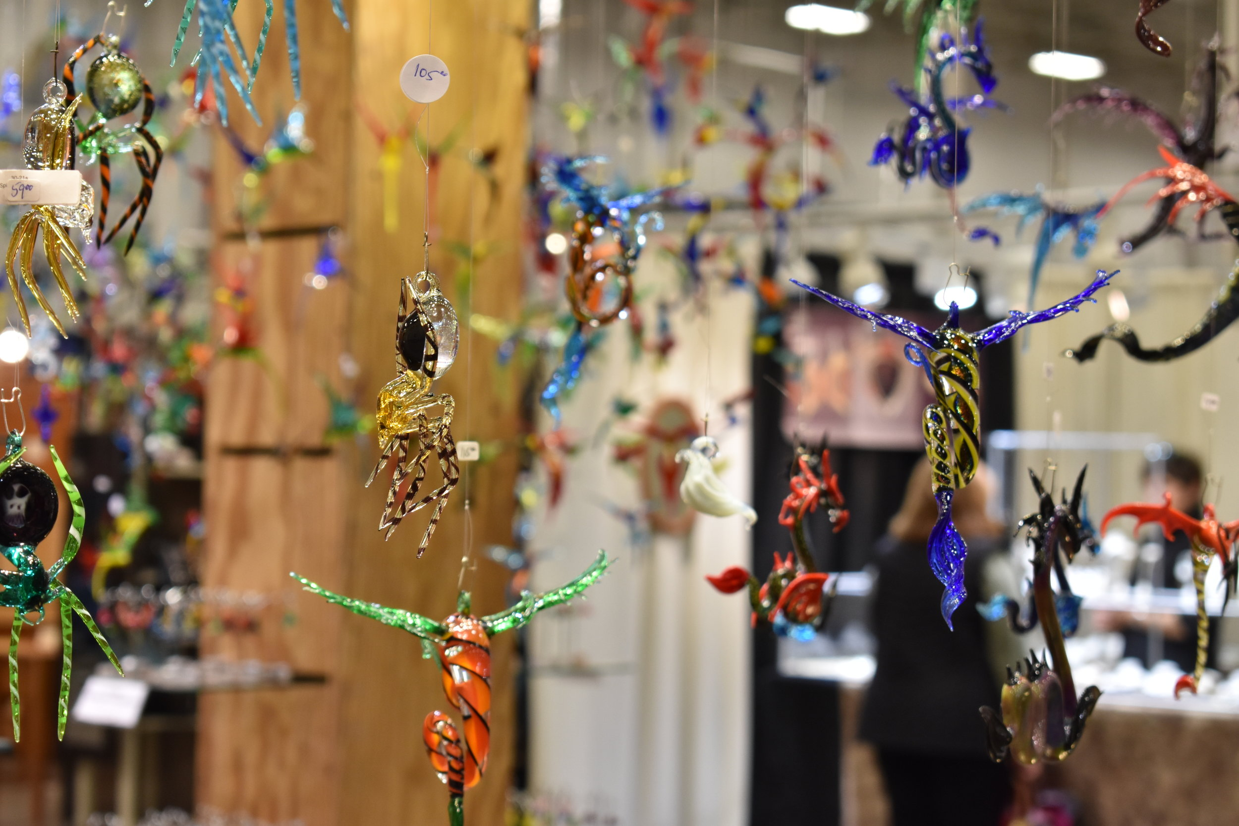 Decorative items for sale are pictured at the Sugarloaf Crafts Festival at the Dulles Expo Center in Chantilly, Va., Friday, March 23, 2018. (Lindsey Leake/American University)