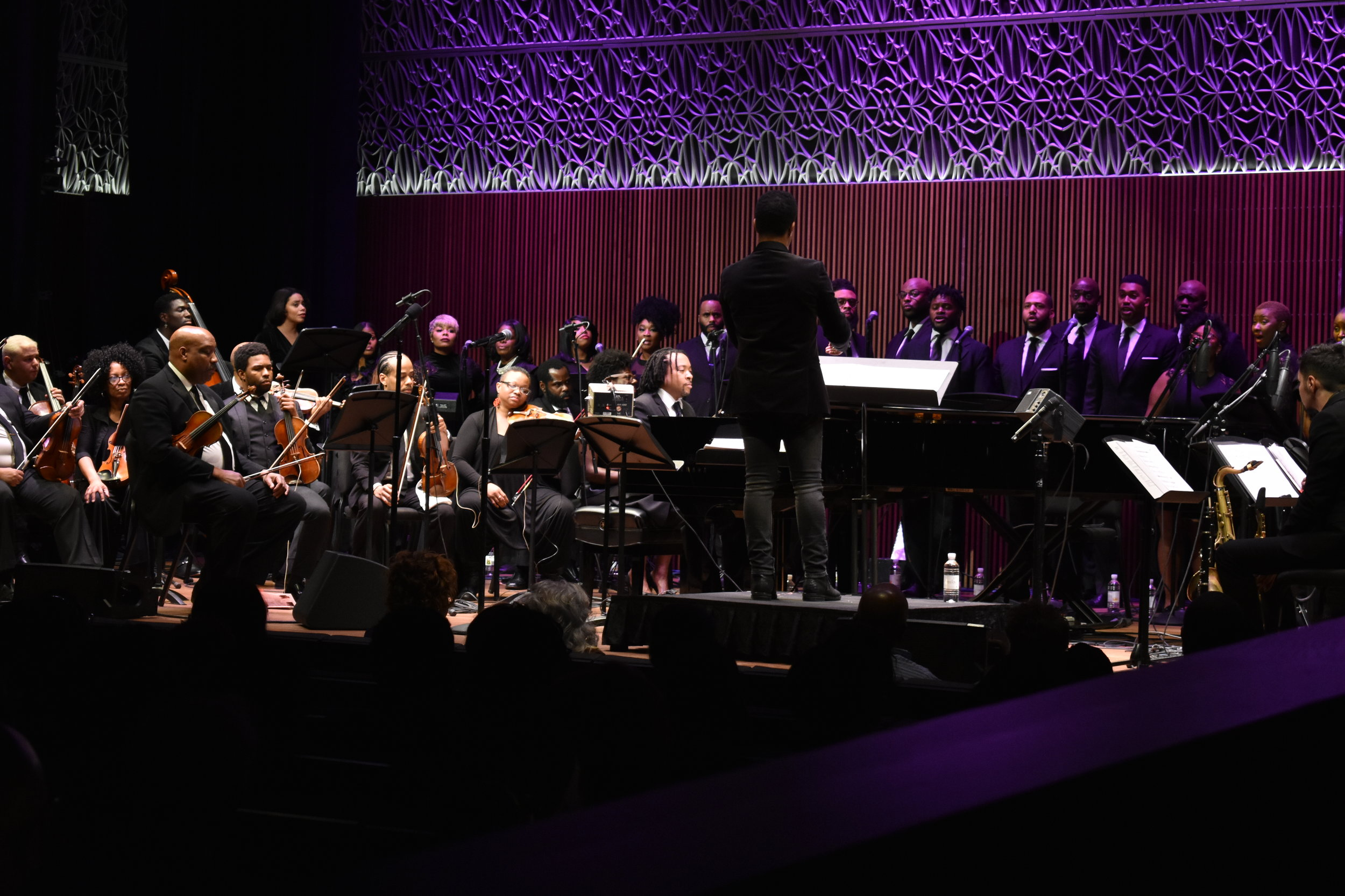 """Darin Atwater's Soulful Symphony performs """"MLK 50: Requiem for a King"""" at the National Museum of African American History and Culture in Washington, Friday, April 6, 2018. (Lindsey Leake/American University)"""