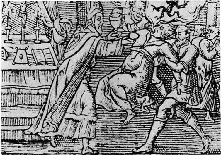 A 1598 woodcut depicts an exorcism. (CC-BY 2.0)