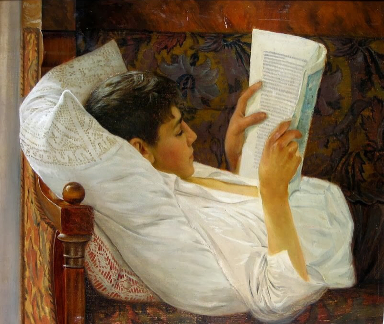 'Young Man Reading' by octavian smigelschi (1892)