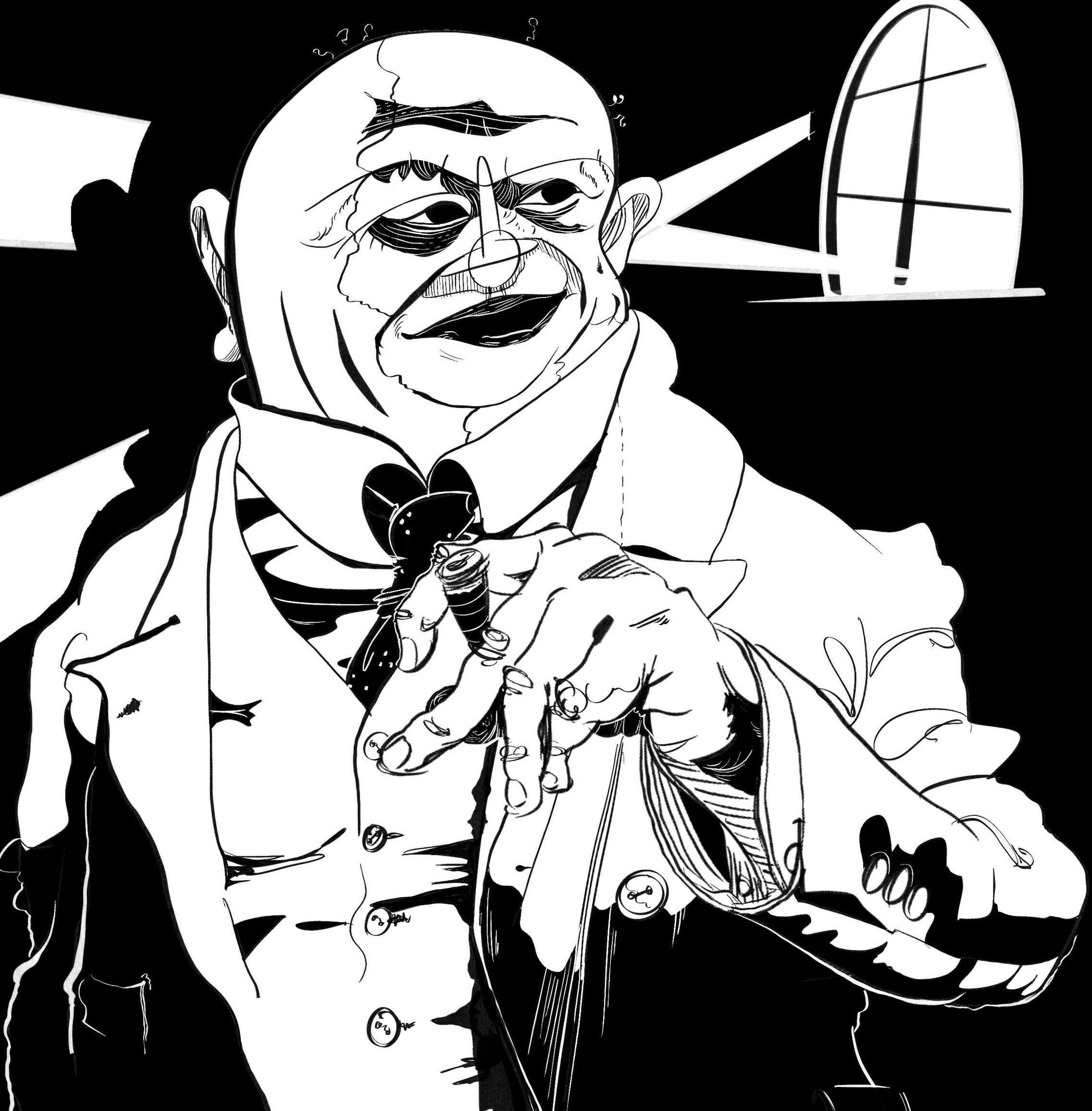 Portrait of Jean Sibelius, sketch by Jeremy Lewis,  www.jeremylewis.com
