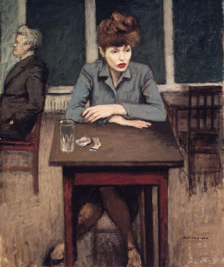 """Cafe Scene"" by raphael soyer, 1946"