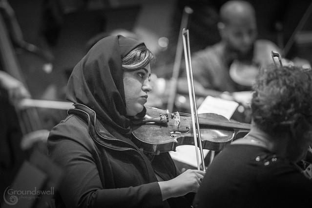 Faranak Honarvar of the Summerhill Orchestra; photo by Trevor Hesselink