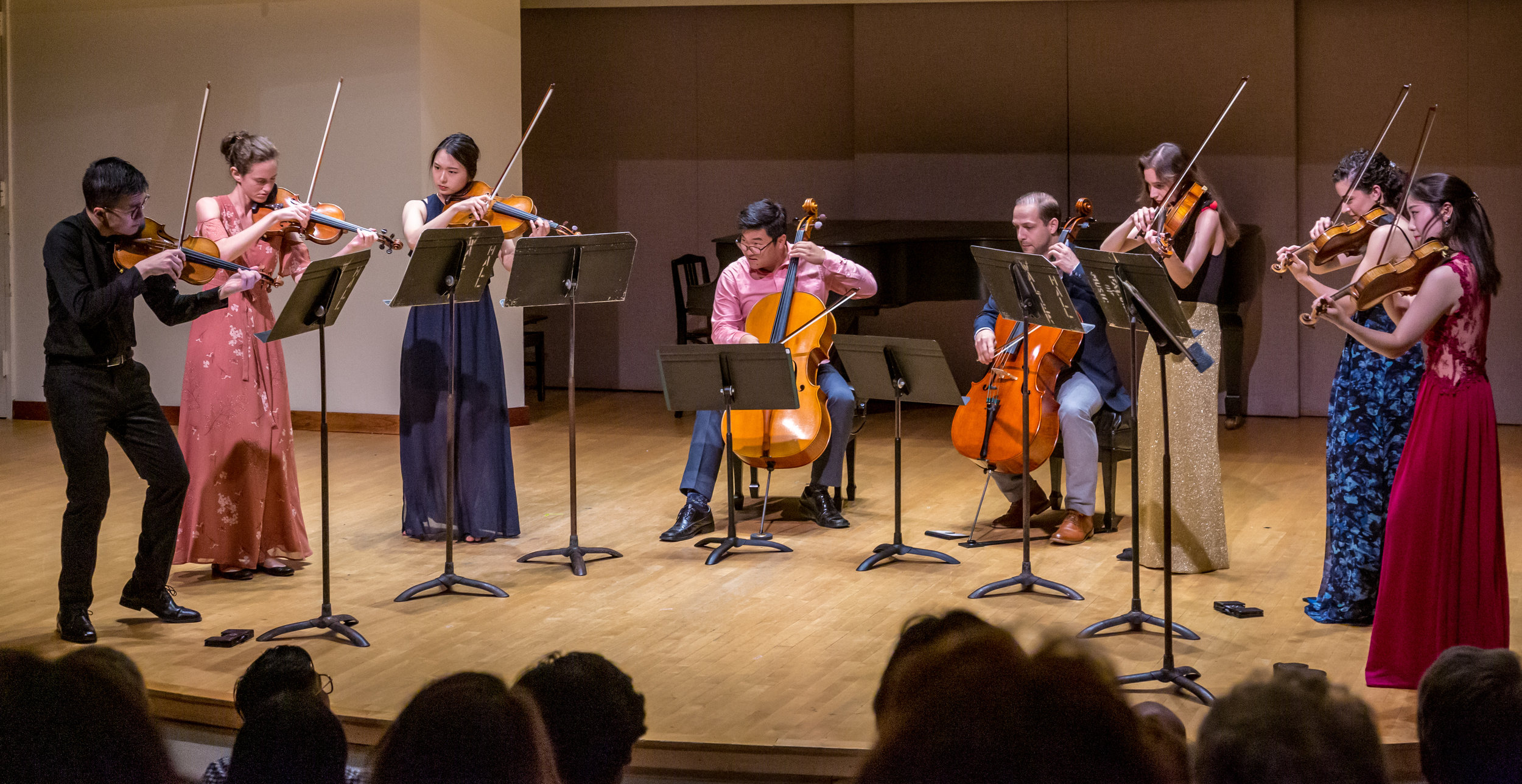 Andrew Wan, Katya Poplyansky, Sienna Minkyong Cho, Alessia Disimino, violins; Minkyoung Lee, Georgina Rossi, violas, Jaeyoung Chong, Andrew Ascenzo, cellos.  Photo Credit: James Ireland