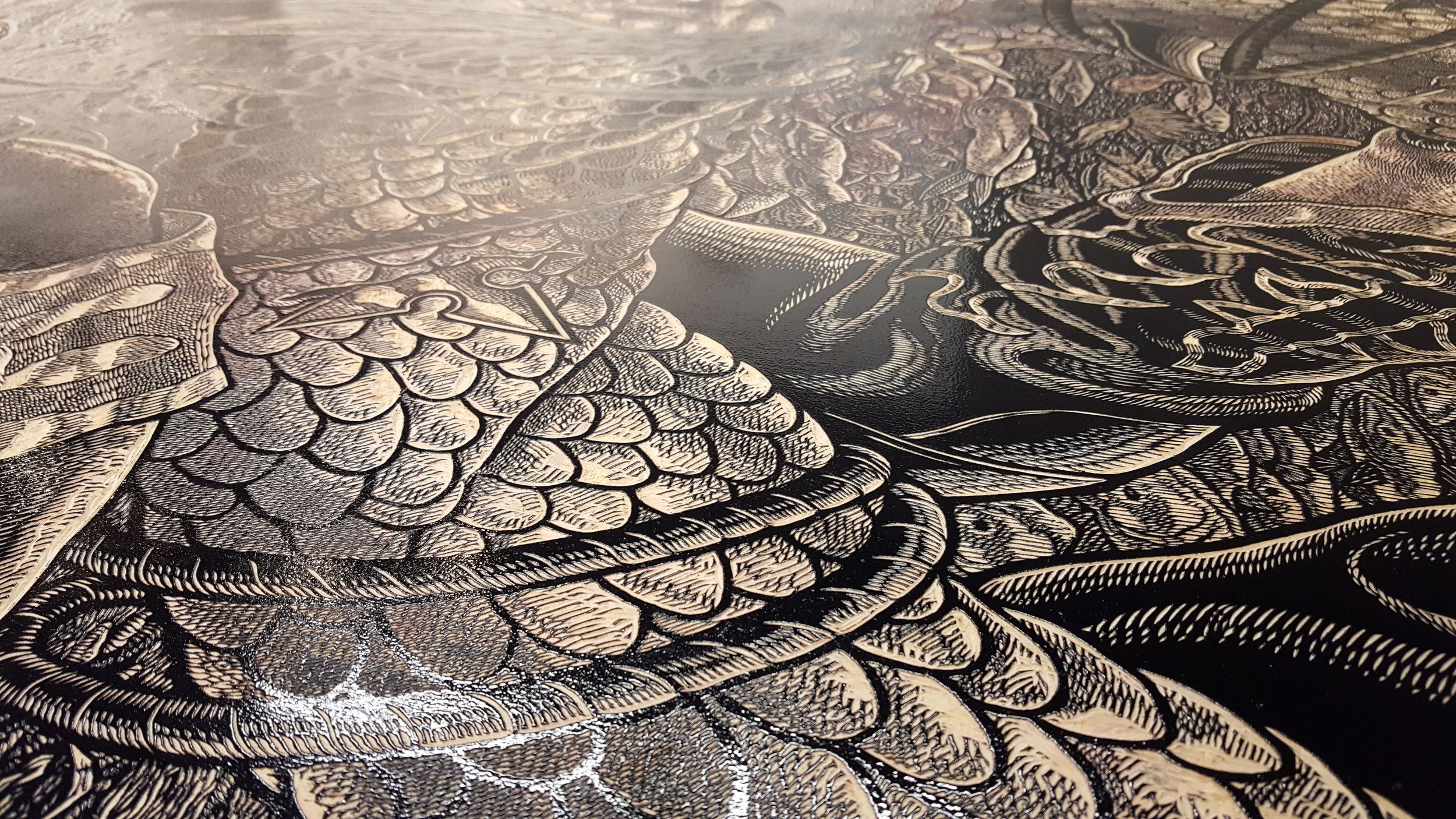 Detail of the inked block