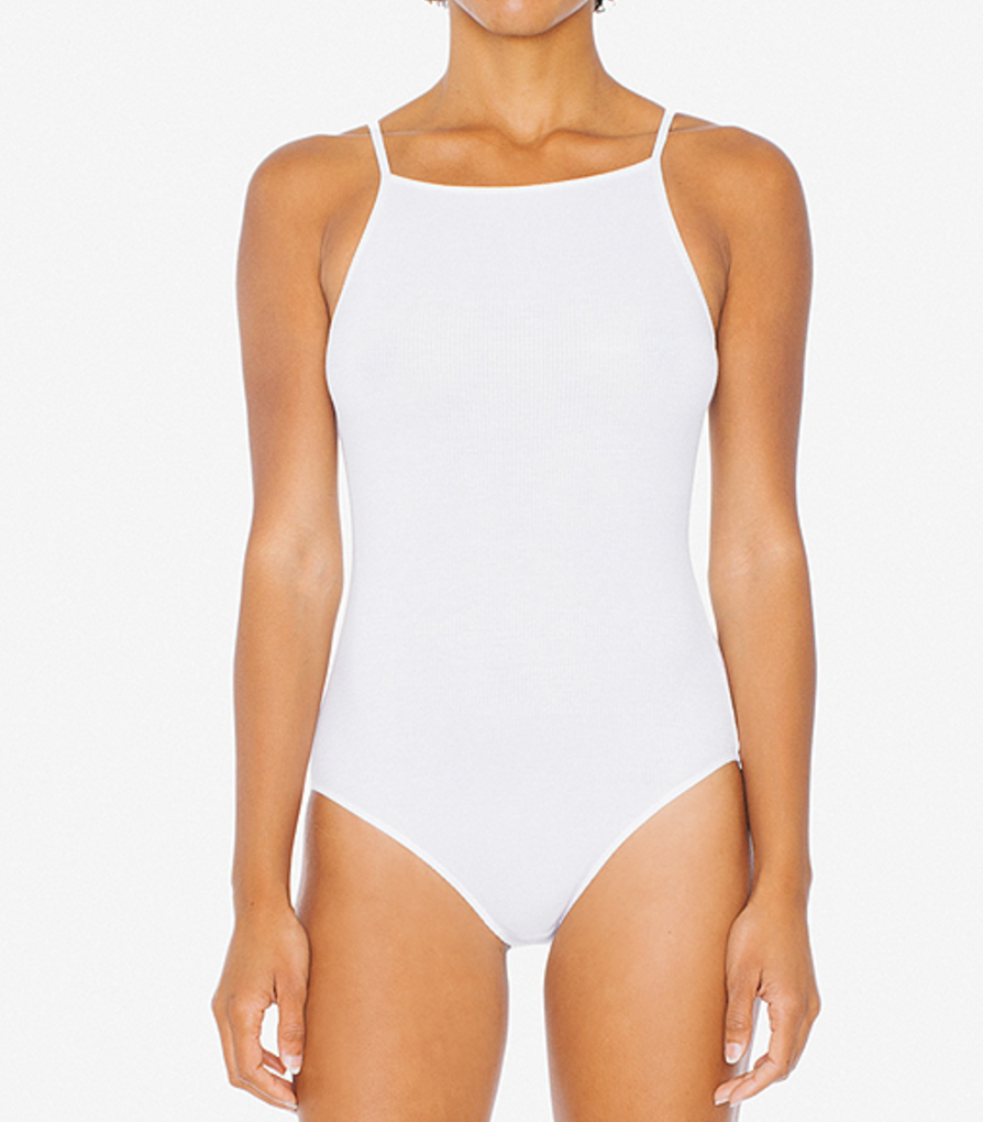 American Apparel Rib Parker Bodysuit   click here  . Colour: White Wash:  Coming soon... This cut adds the confidence I'm missing! The way it splits up the chest and shoulder area makes a great fit for anyone. Its no wonder this style is so popular.