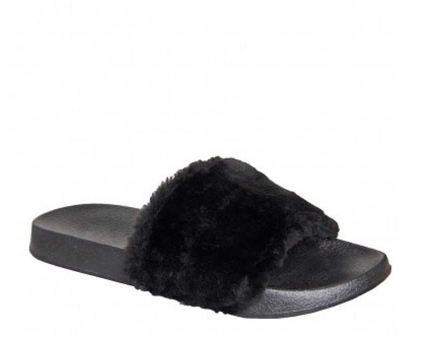 Simmi London Faux fur black sliders   click here  .  To bring the vibe down to a more comfort level with this outfit pair it with these faux fur sliders!