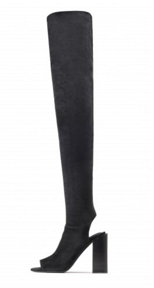 Jeffrey Campbell Thigh-high open toe Capricorn boot   click here .