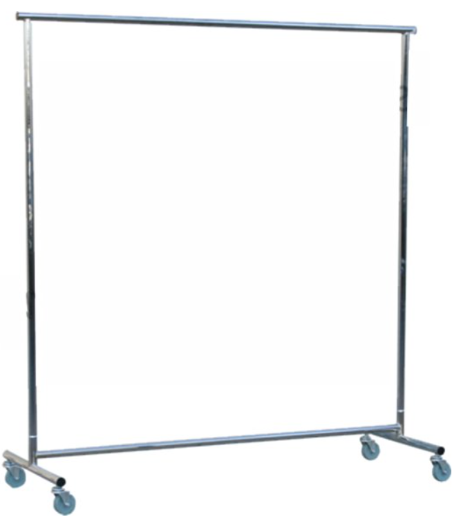 Large living space. All silver rolling rack.