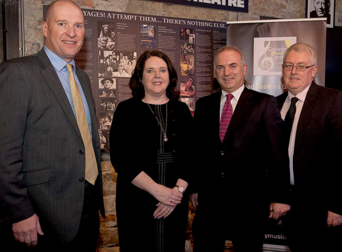 Pictured at the official launch of the Galway Music Centre, were: David Leahy (CEO, GRETB), Anna Cunningham (Director, GMC), Bernard Kirk (Director, GEC) and Professor Pól Ó Dochartaigh (Registrar / Deputy President, NUI Galway)