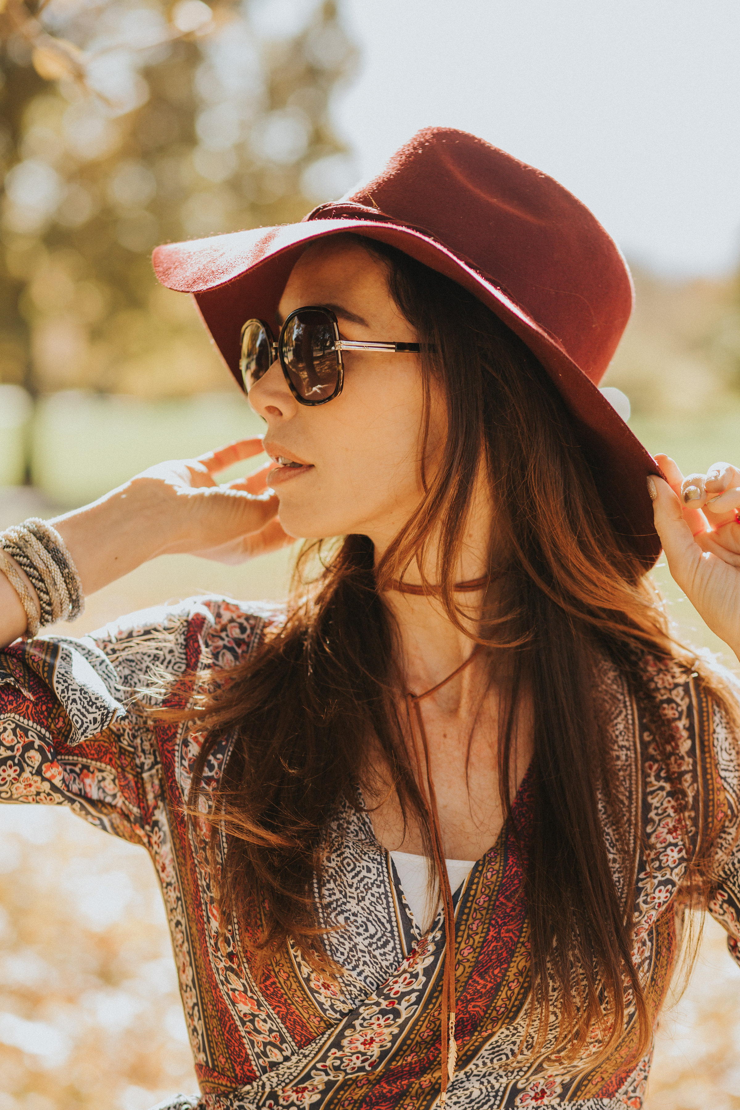 Free People floppy hat, Lily & Laura bracelets and homemade choker