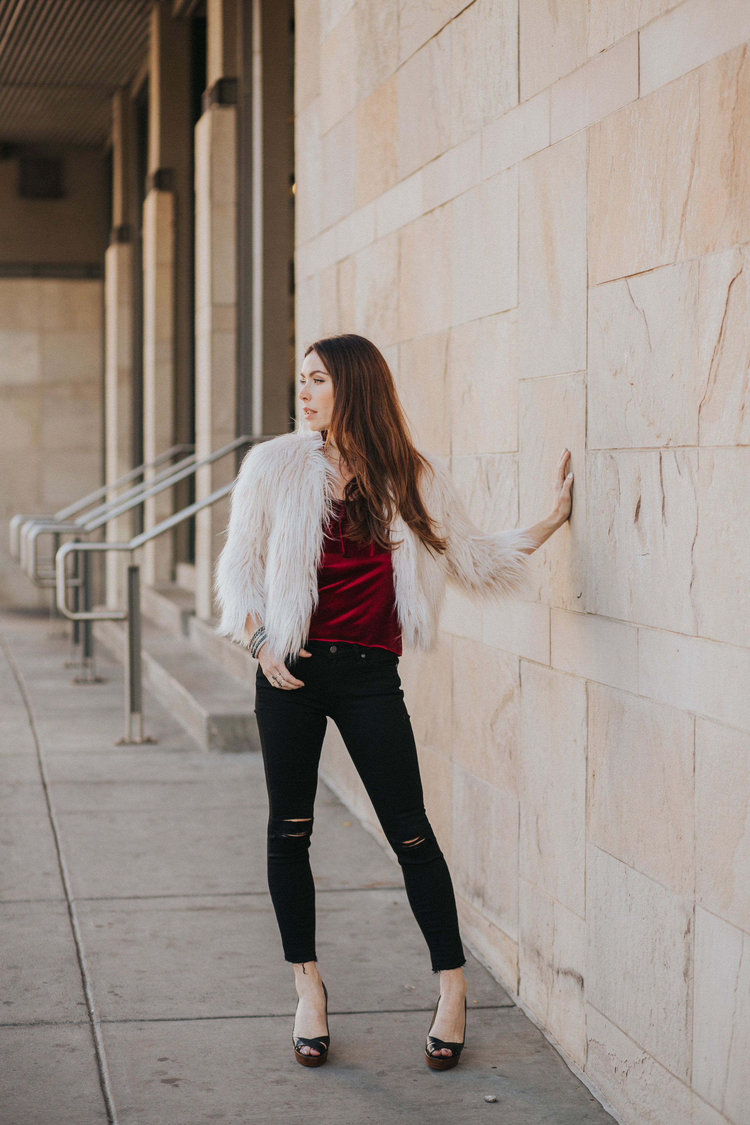 Zara faux fur coat, Paige jeans, Christian Louboutin heels