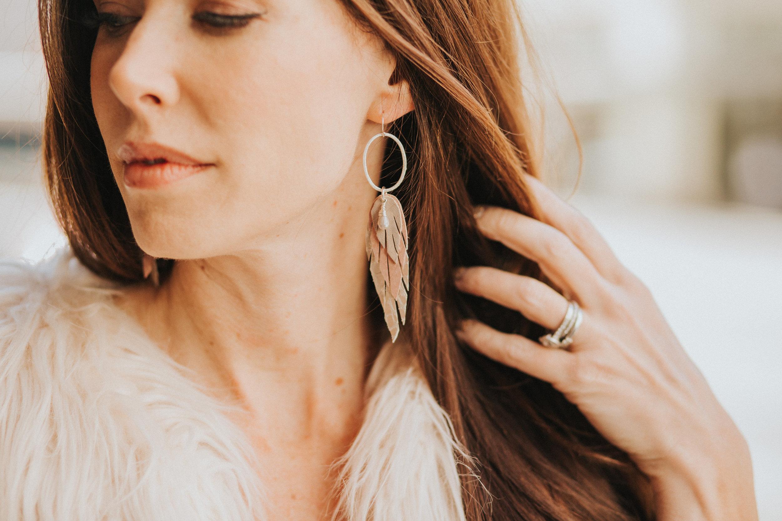 Leather Feather earrings from Bohemi Jewelry (www.bohemi.com)