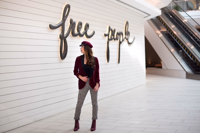 Velvet blazer and pants from Free People Cherry Creek, hat from Forever 21