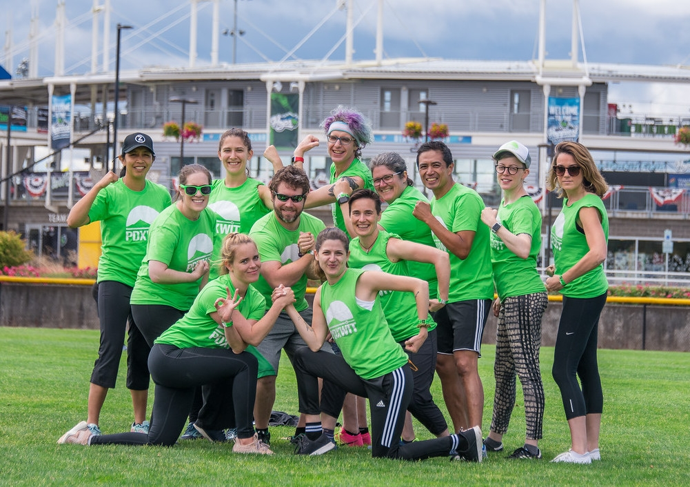 Elizabeth and the PDXWIT team at the TAO Kickball Tournament in June.