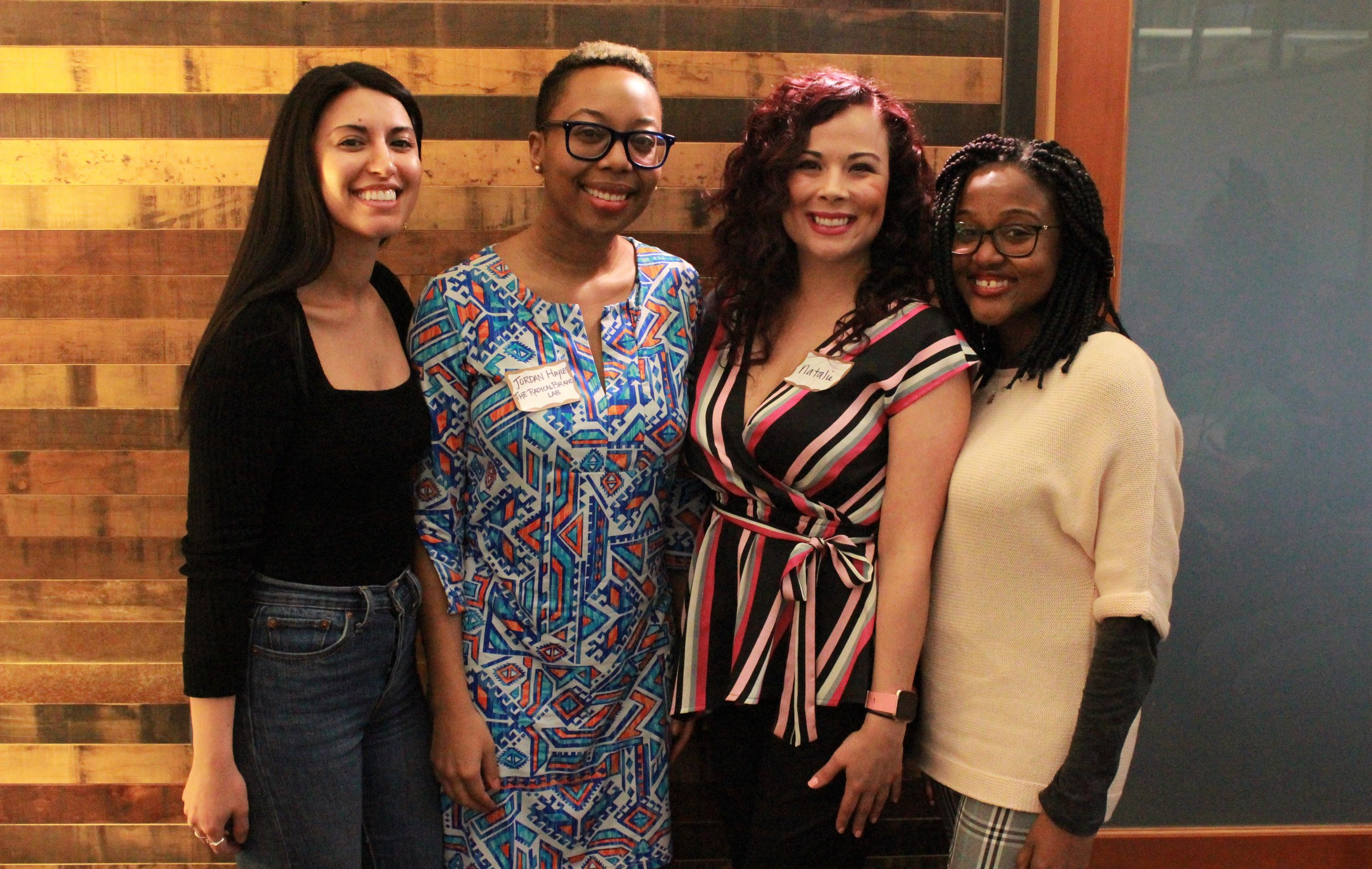PDXWIT Creative Women in Tech @ R2C, 3/27/19, speakers Nadya, Jordan, Natalie, and Arlyne pose for a photo