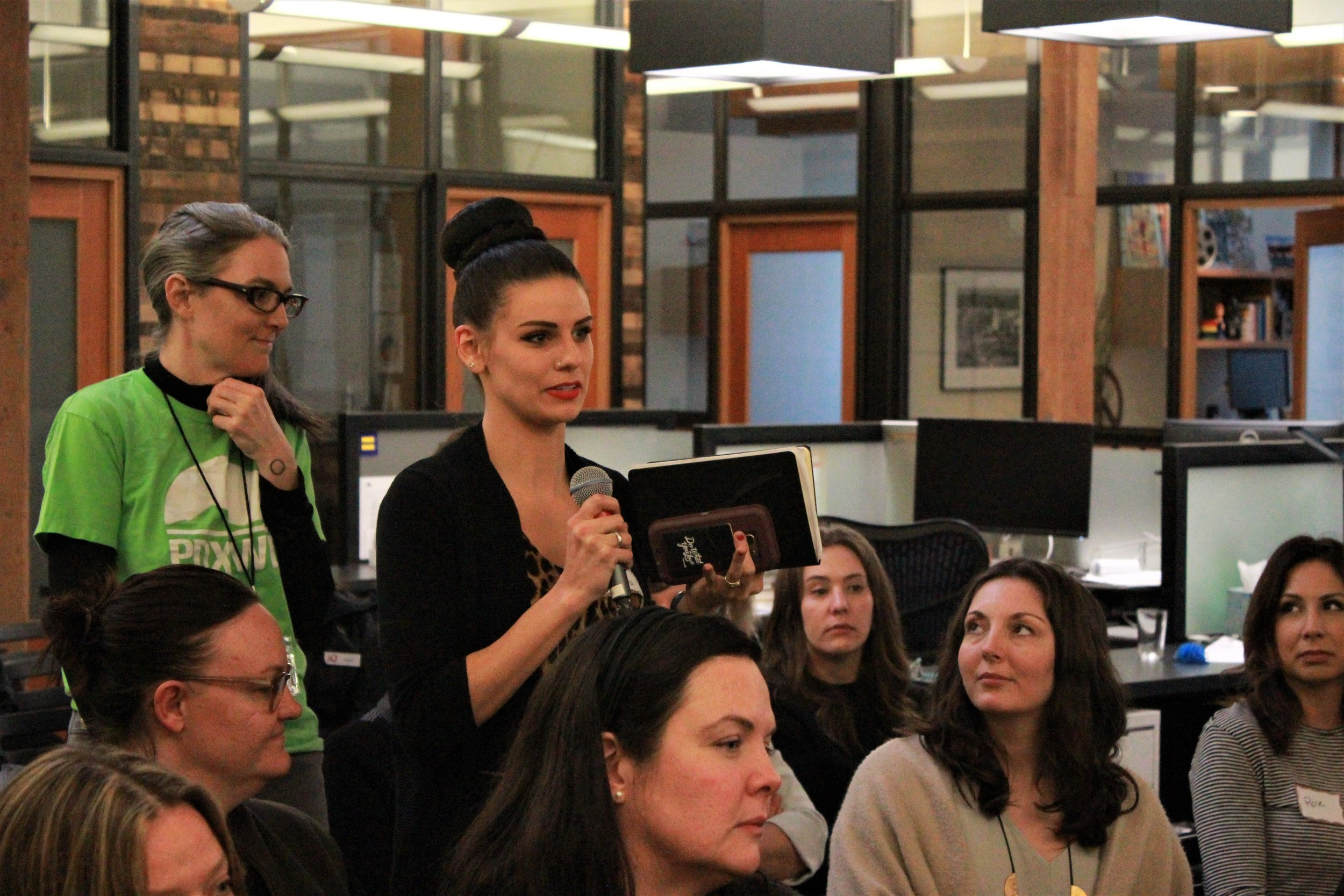 PDXWIT Creative Women in Tech @ R2C, 3/27/19, An attendees asks a question during Q&A