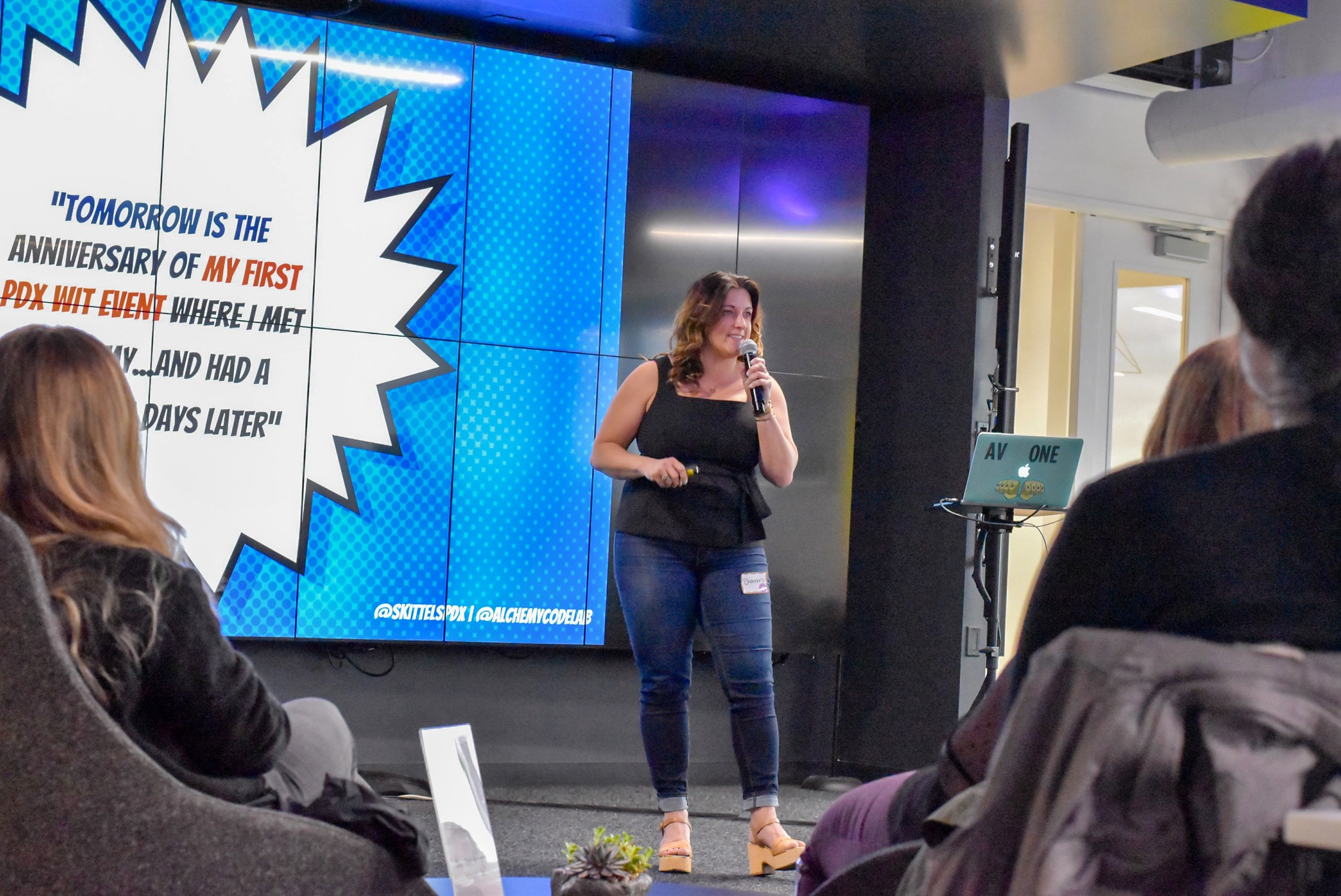 PDXWIT April Happy Hour @ New Relic, 4/16/19, Shannon Wolcott - Marketing and Career Services Director at Alchemy Code Lab - speaks