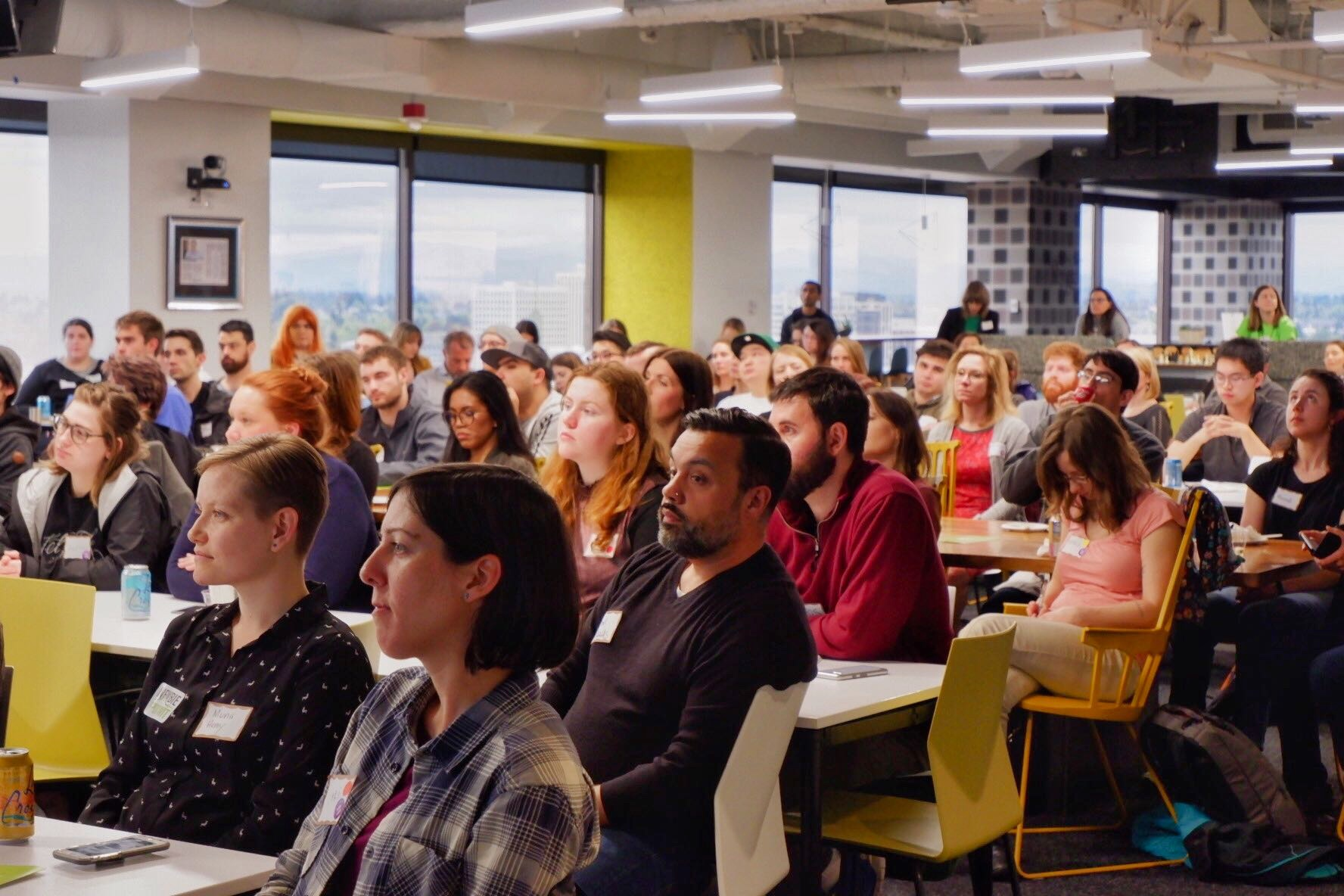 PDXWIT How to Navigate The Tech Field @ New Relic, 4/23/19 - Attendees listen to the presentation