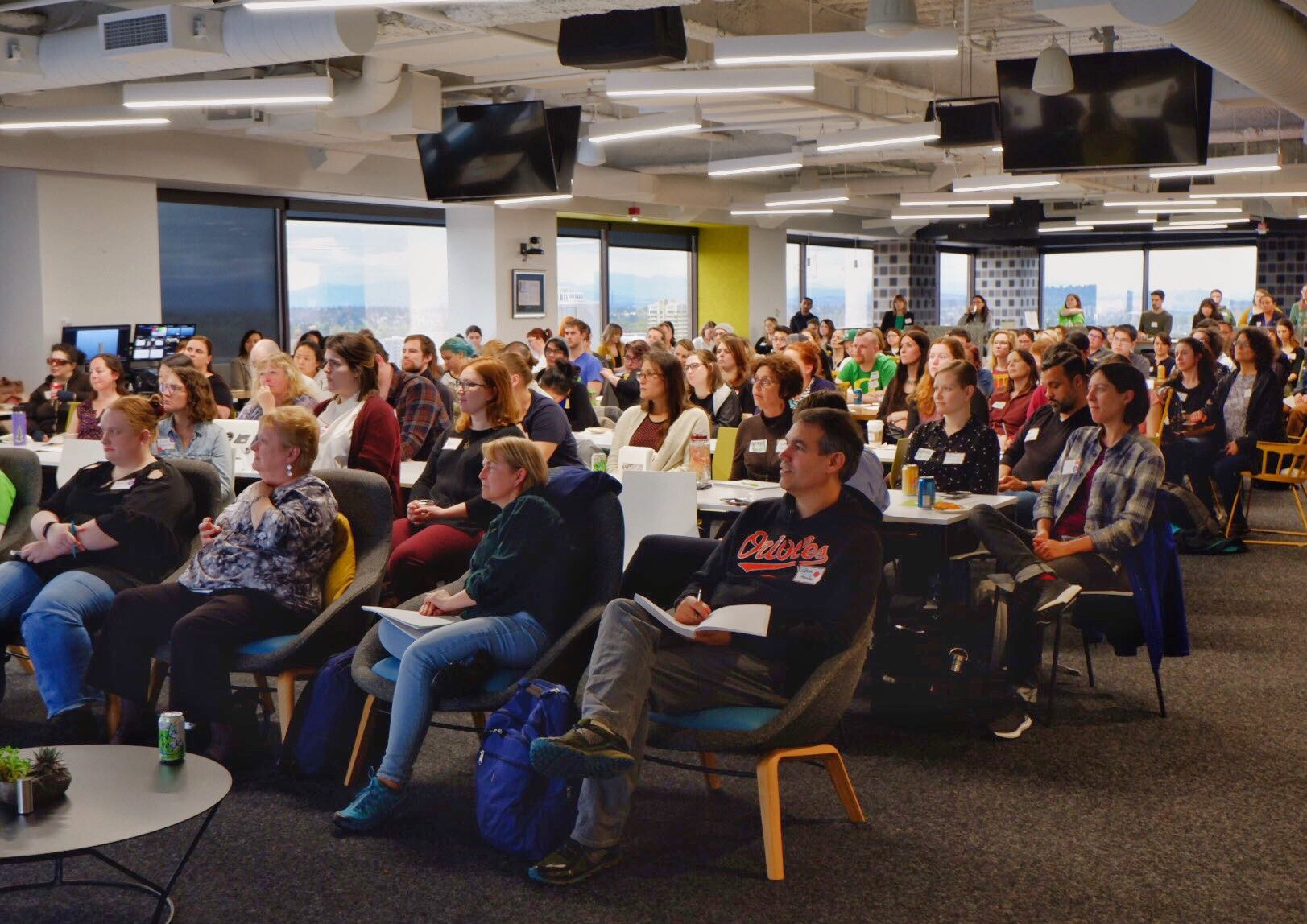 PDXWIT How to Navigate The Tech Field @ New Relic, 4/23/19, Attendees listen to the presentation