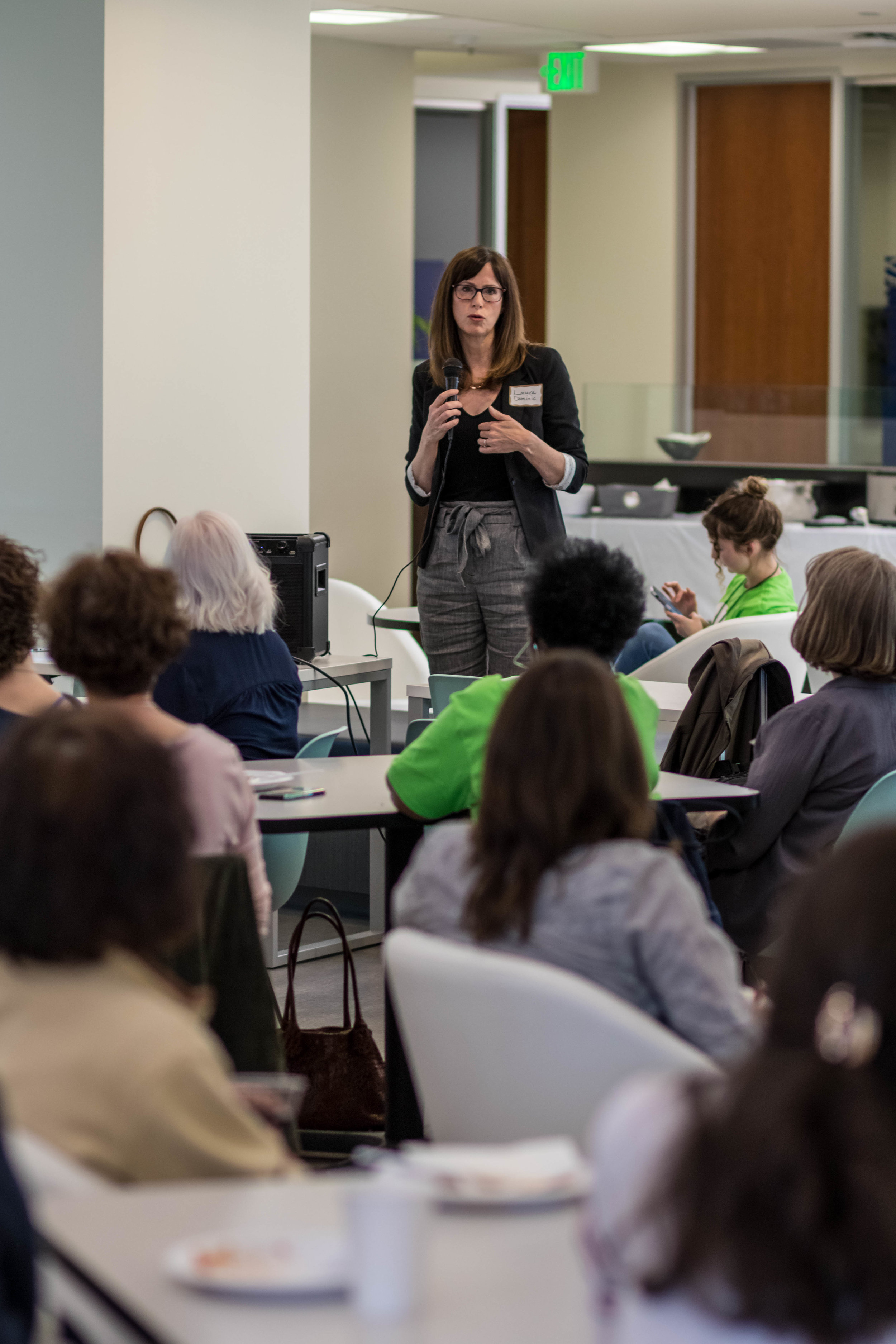 PDXWIT Experienced Women in Tech @ Corvel, 4/30/19 - Laura Dominic, Senior Consultant at Tsongas Litigation Consulting, speaks