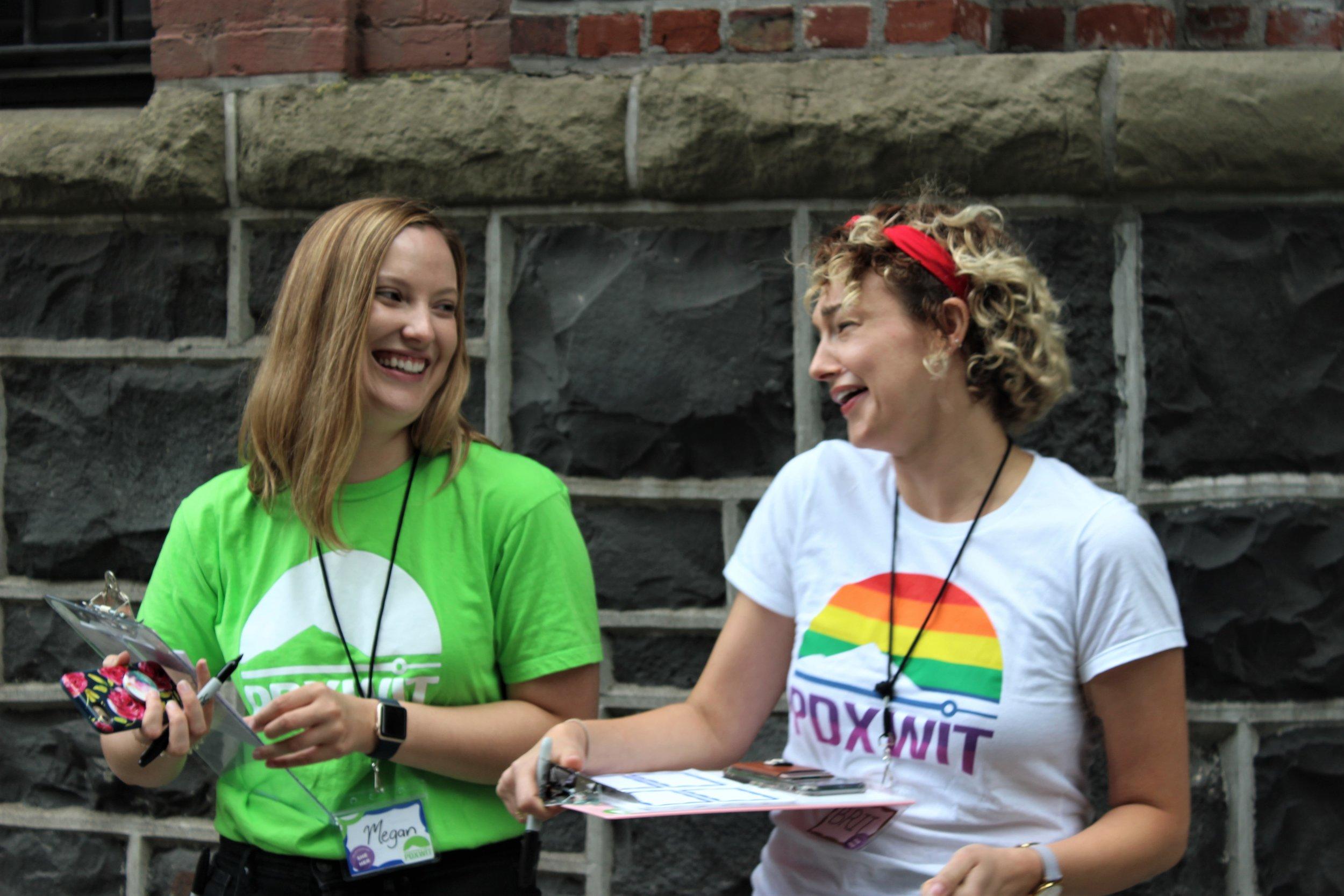 Volunteers chatting outside event.jpg