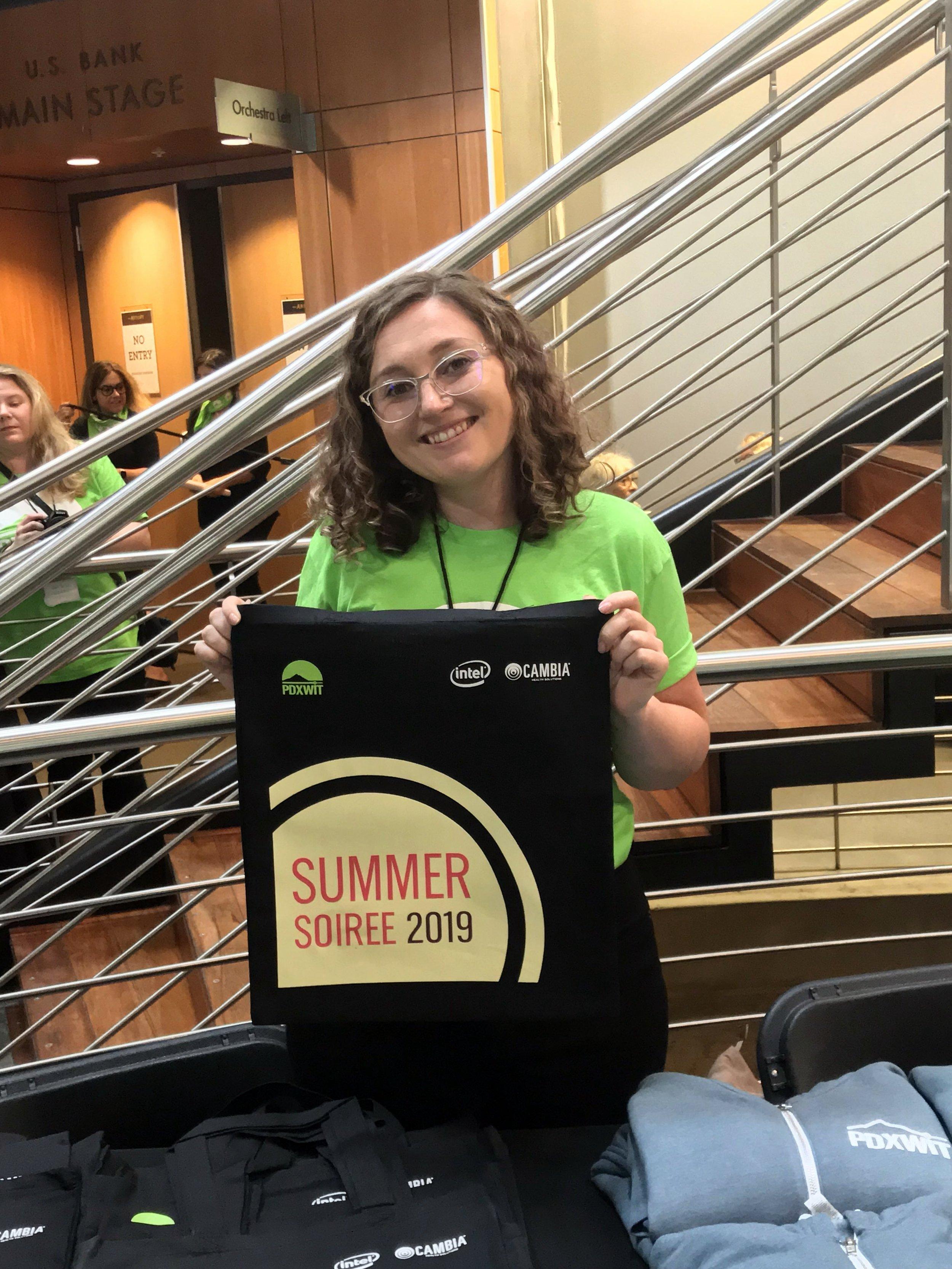 Amanda showing us the Summer Soiree tote.jpg