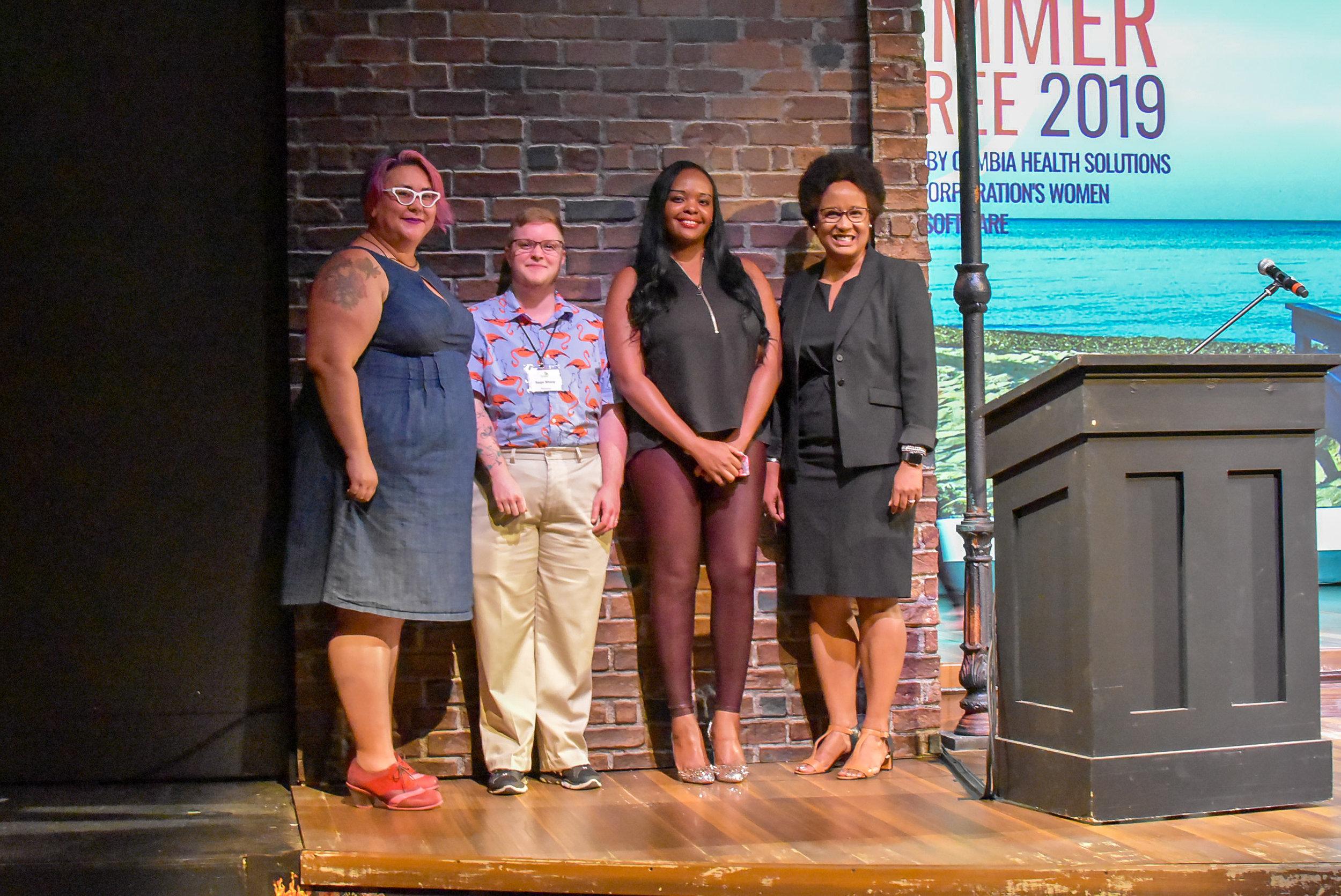 (left to right) Tara Robertson, Sage Sharp, Esther John, Dr. Harriet Nembhard.JPG