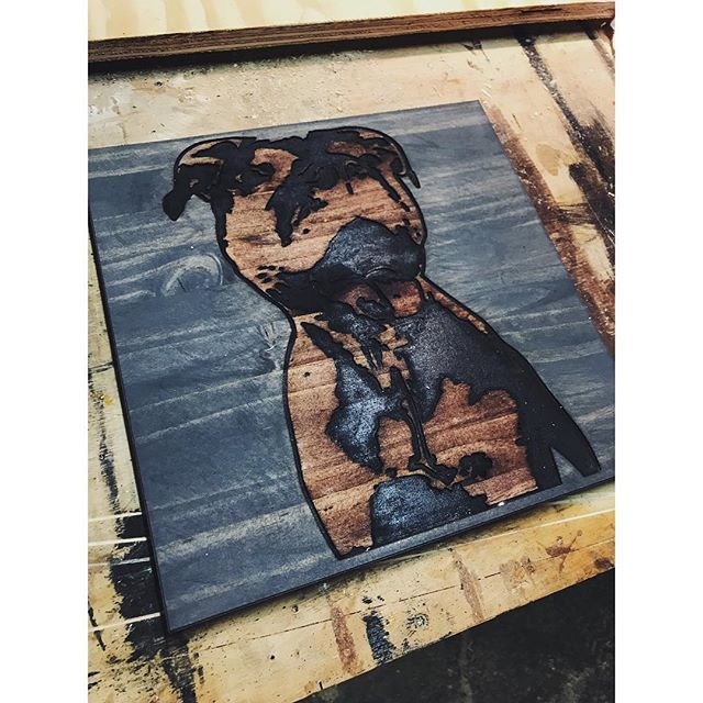 Some more CNC fun... Of course Steiner the workshop dog needed a portrait. There's still time to place an order for the holidays! DM me for details. #steiner #woodshopdog #shopdog #woodworking #cnc #customwoodwork #dogportrait #pitbull