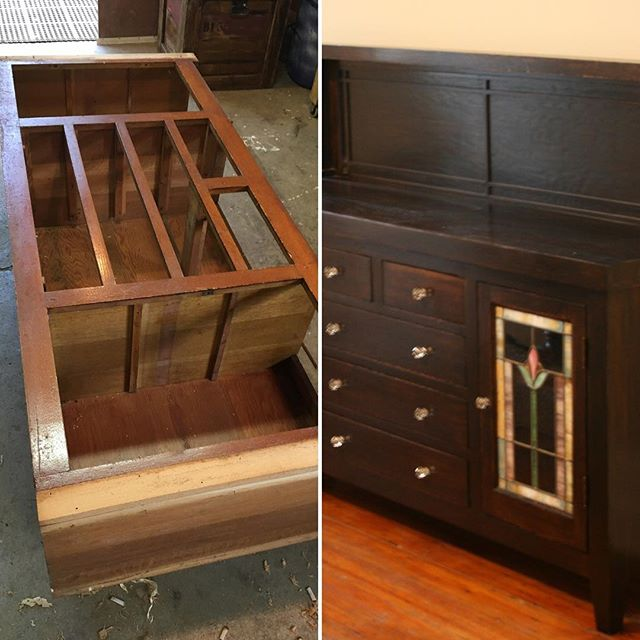 Before and after of my antique buffet restoration project. More photos on my website. Schaverwoodshop.com #antique #antiques #restoration . . . . #woodworking #woodworkforall #palospark #minwax #woodwork #interiordesign #handmade #furniture #furnituredesign #schaverwoodshop #decor #woodworker #craftsman #chicagodesigner #craftsmanship #chicago #interior #dowoodworking #mywworg #woodshop #carpenter