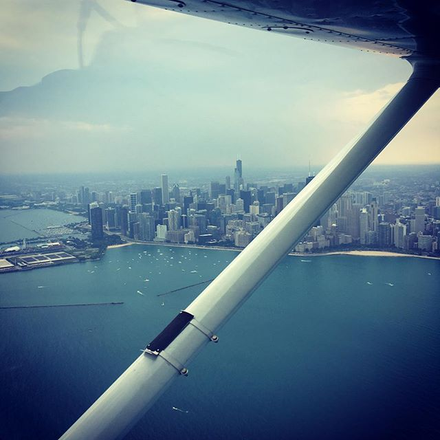 Sunday afternoon plane ride over Chicago with P.B.J. Thanks for the ride Joe! . . .  #flying #planes #chicago #airplane #airplanes #schaverwoodshop #lakemichigan