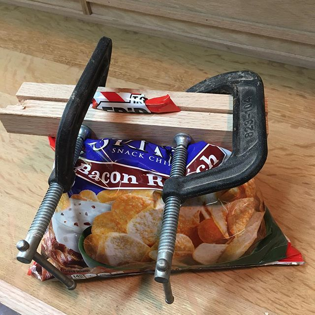 Tired of stale snacks when working in the shop? Try the all new, state of the art, industrial chip clip! #patentpending #potatoskins #chips . . . . . . #woodworking #funny  #woodwork #handmade  #schaverwoodshop #invention #terribleinventions #woodworkforall #palospark  #woodwork #handmade #schaverwoodshop #woodworker #craftsman #craftsmanship #chicago #dowoodworking #mywworg #woodshop #carpenter #diy