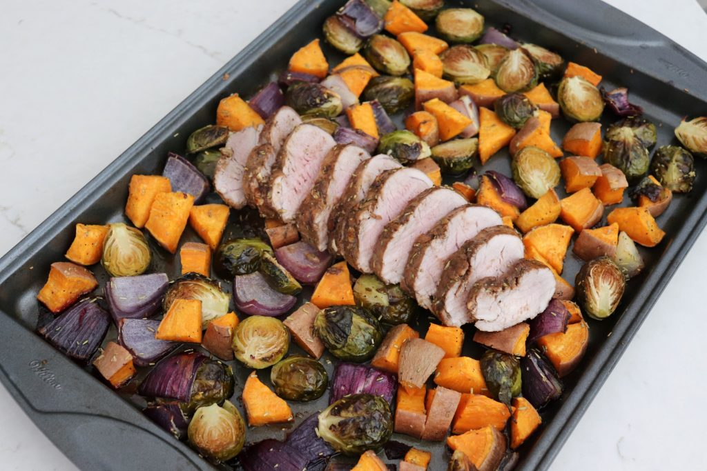 Sheet Pan Honey Balsamic Pork Tenderloin with Sweet Potatoes and Brussels Sprouts