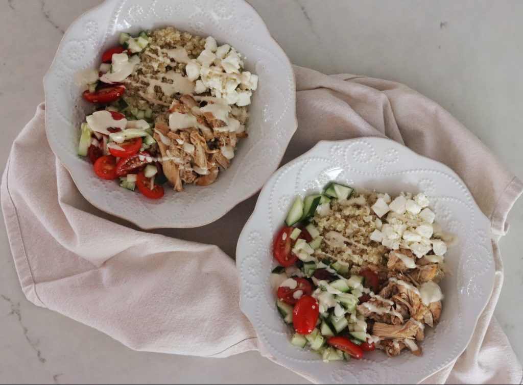Instant Pot Greek Chicken Gyro Bowls from Jessica Ivey