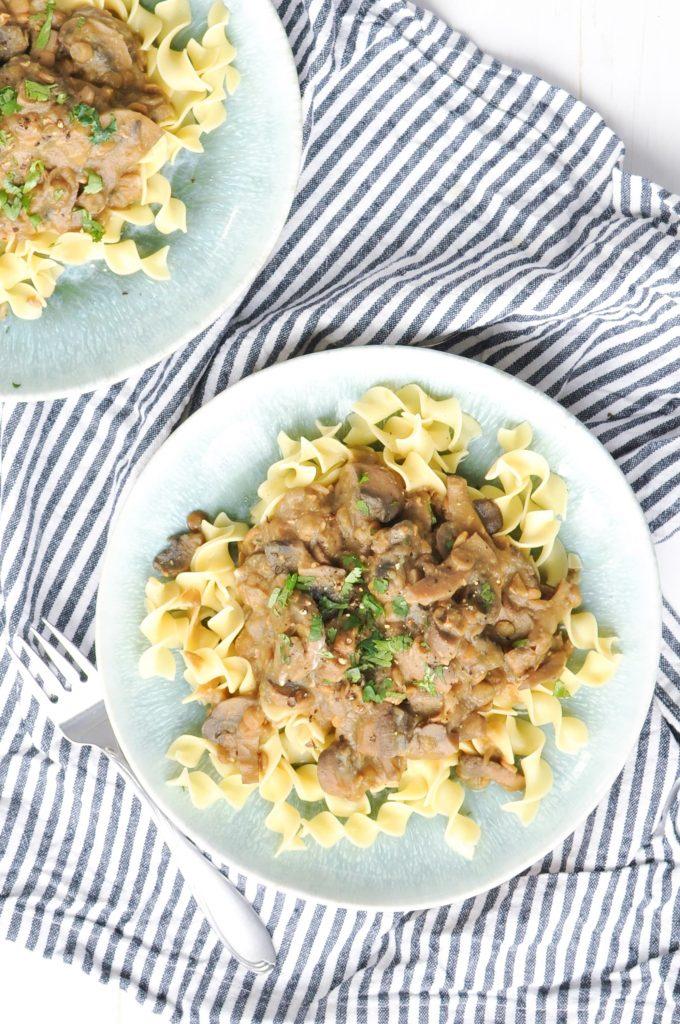 Instant Pot Lentil Stroganoff by Nourish Nutrition