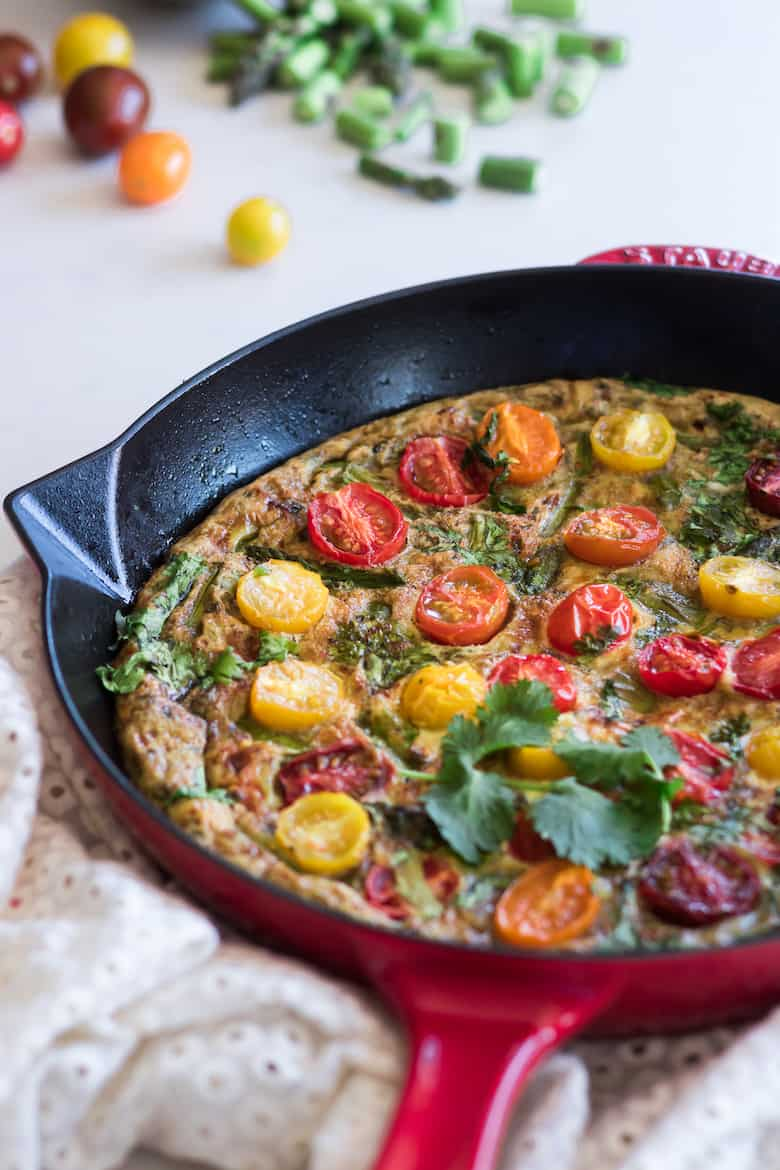 Tomato Asparagus Frittata by Delicious RD