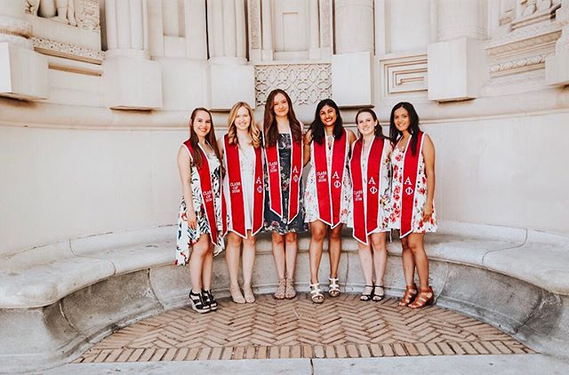 our seniors are graduating this weekend and we couldn't be more proud 🌿💖🎓 #cmualphaphi #alphaphi
