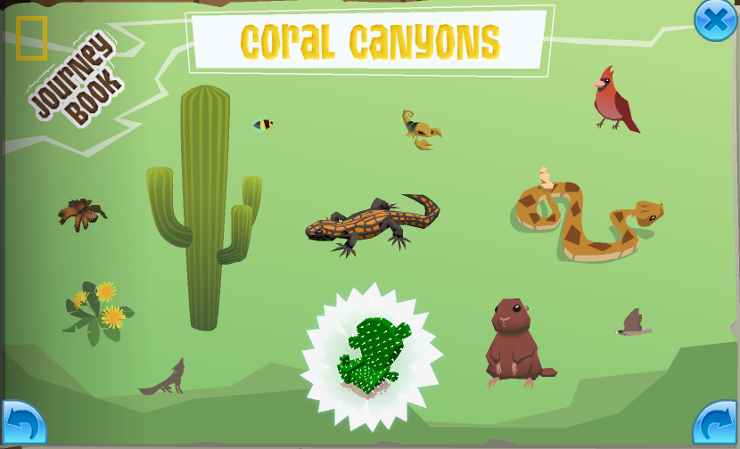 The completed Coral Canyons page in the Journey Book