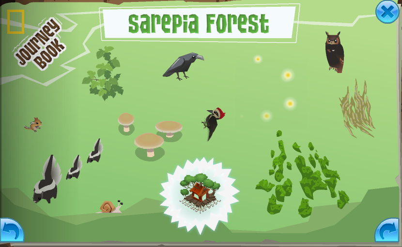 The completed Sarepia Forest page in the Journey Book