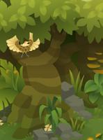 Paradise Riflebird -Left of crumbling ruins.