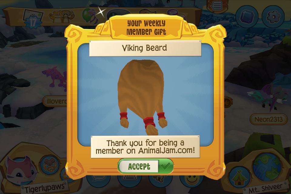 Weekly Play Wild Member Gift: Viking Beard — Animal Jam Archives