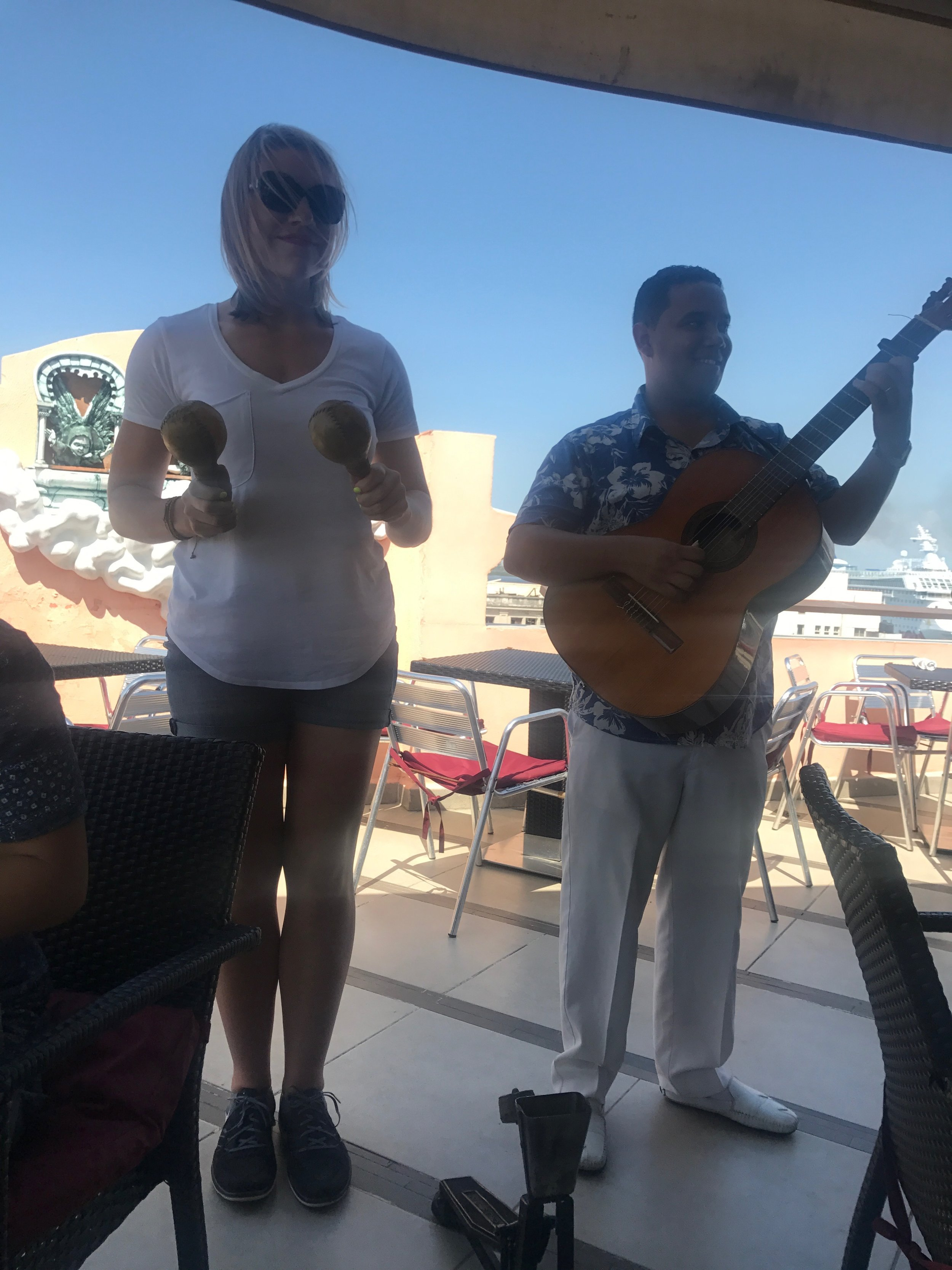 Here's me, sober AF playing the maracas in a Cuban band.