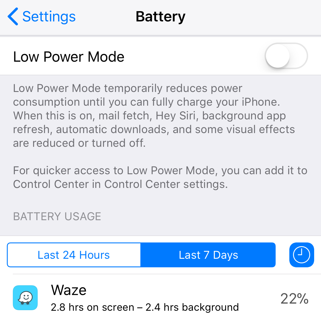 """To see your screen usage, go to Setting>Battery and scroll down to """"Battery Usage"""". Select """"Last 7 Days"""" and click the little clock icon to display how many active hours you've used in various apps over the last week"""
