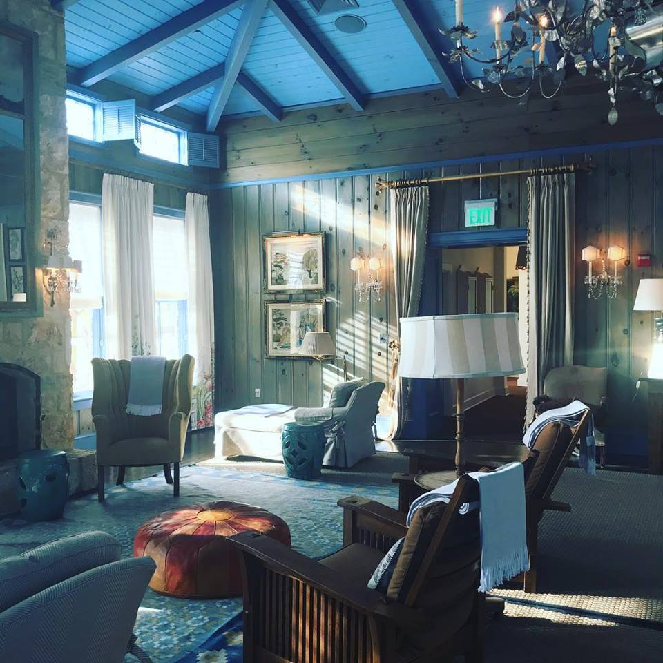 """The aptly named """"Blue Room"""" is reserved for spa guests to relax before and after their scheduled spa services."""